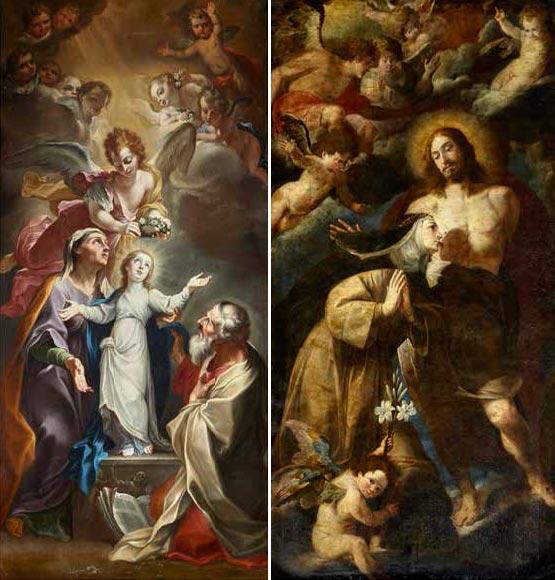 """""""Legnanino"""": La famiglia della Madonna coi Santi Gioacchino e Anna (18a cappella). Melchiorre Gherardini: S. Caterina da Siena bacia il costato di Gesù (19a cappella)."""