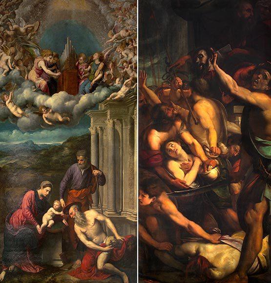 Paris Bordone: S. Girolamo riceve il cappello Cardinalizio (15a cappella). G. C. Procaccini: Il martirio dei Santi Nazzaro e Celso (16a cappella).