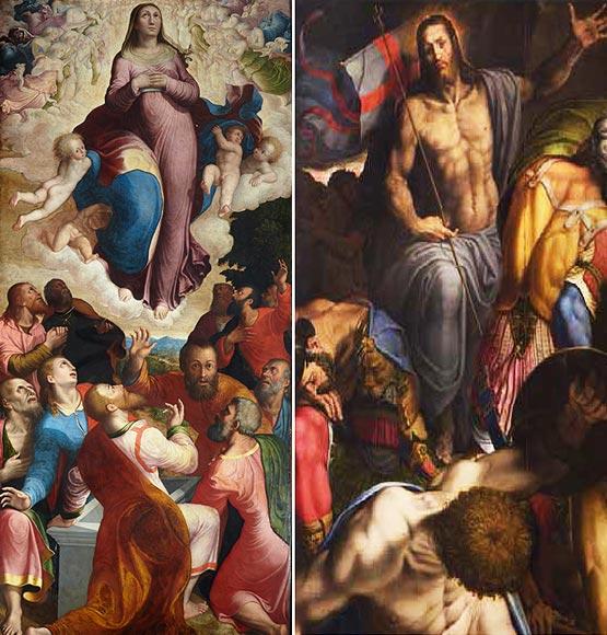 Carlo Urbino da Crema (1546-1627): Assunzione. (11a cappella). Antonio Campi (1514-1587): Resurrezione di Gesù (14a cappella).