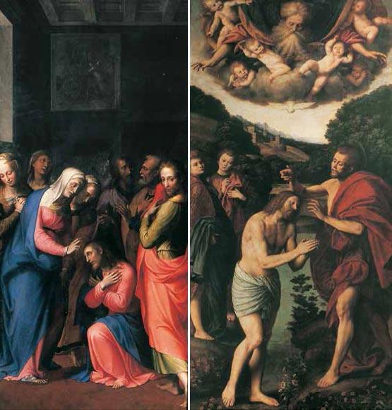 Carlo Urbino da Crema: La Madonna benedice il Signore (9a cappella). G. Ferrari: Il Battesimo di Gesù (10a cappella).