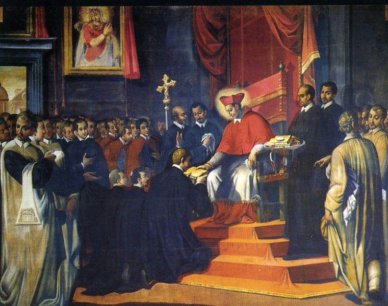 San Carlo fonda la Congregazione degli Oblati di Sant'Ambrogio il 16 agosto 1578 - Dipinto di Carlo Buzzi 1603